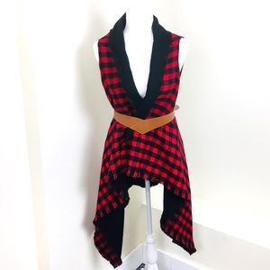 David and Young Buffalo Check Plaid Open Vest
